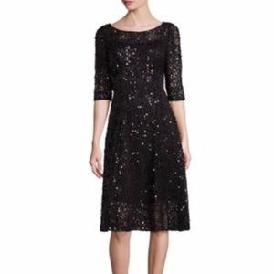 Kay Unger Solid Roundneck Dress in Midnight 12